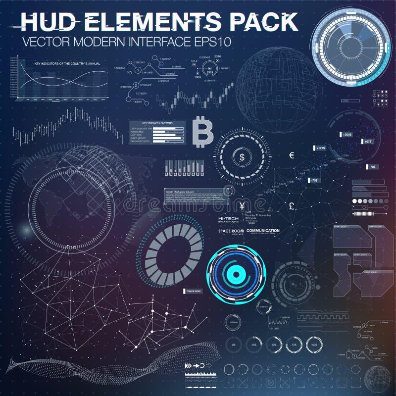 elementy infographic futurystyczny interfejs użytkownika HUD UI UX Abstrakcjonistyczny tło z łączyć kropki i linie royalty ilustracja