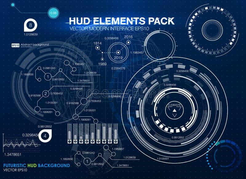 elementy infographic futurystyczny interfejs użytkownika HUD UI UX Abstrakcjonistyczny tło z łączyć kropki i linie ilustracja wektor