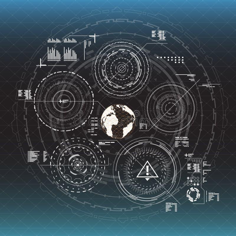 elementy infographic Głowa pokazu elementy dla app i sieci Futurystyczny interfejs użytkownika Wirtualna grafika ilustracji