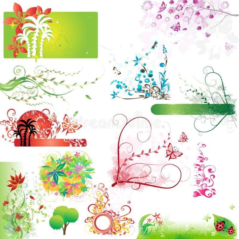 elementy kwiecisty zestaw ilustracja wektor
