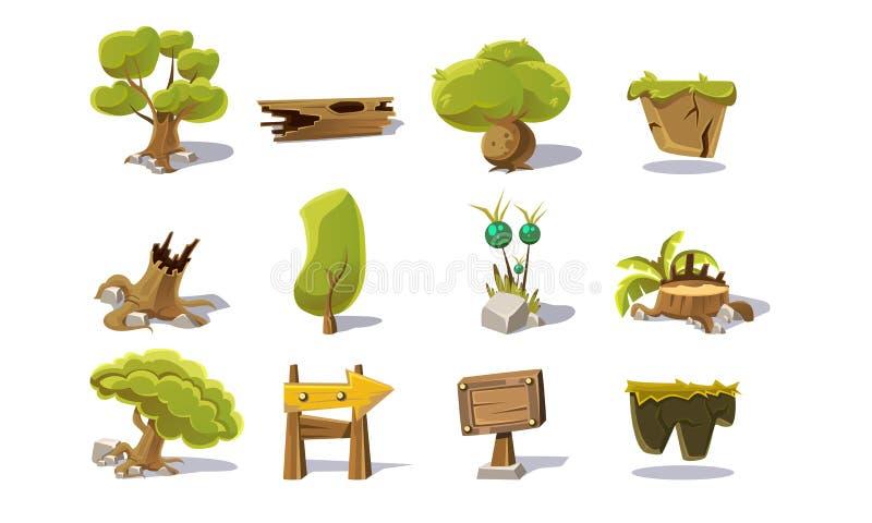 Elementy lato krajobrazu Naturalny set, interfejs użytkownika wartości dla Mobilnej App lub gra wideo wektoru ilustracji royalty ilustracja