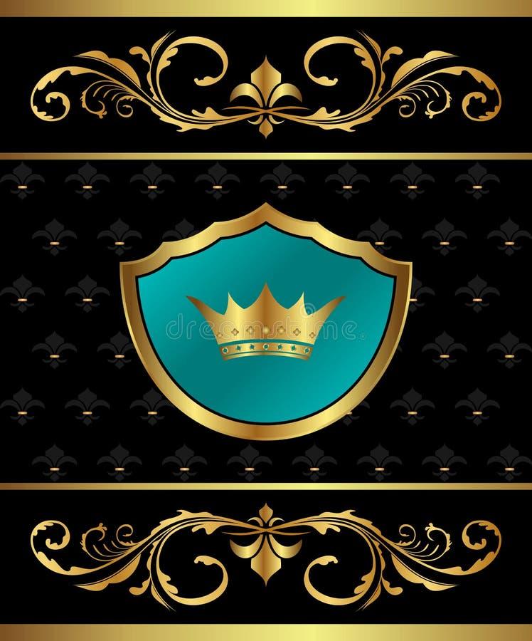 elementy obramiają złoty heraldycznego royalty ilustracja
