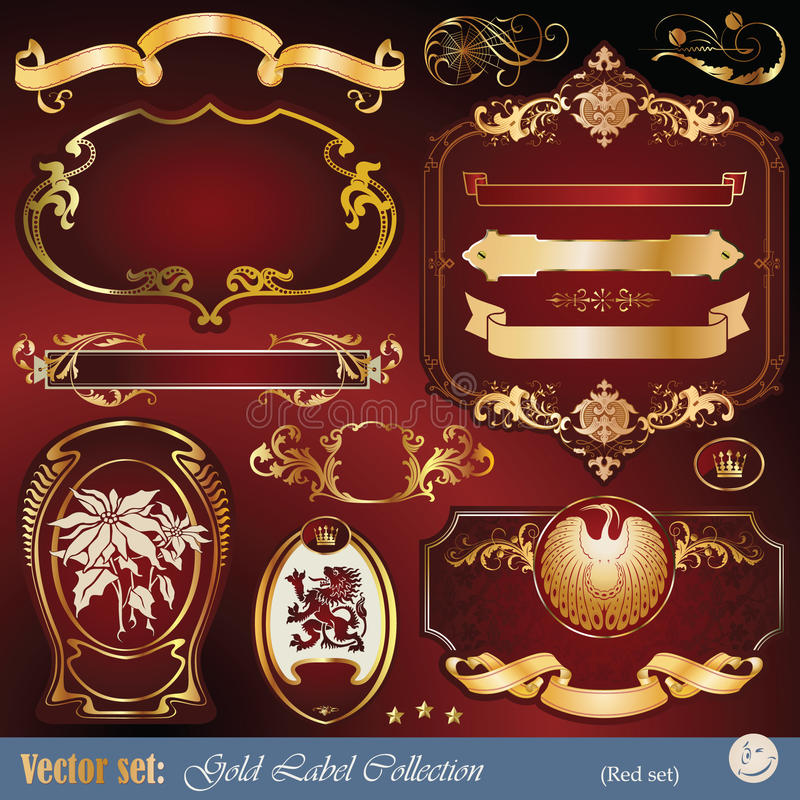 elementy obramiający złoto przylepiać etykietkę ornamenty tasiemkowych ilustracja wektor