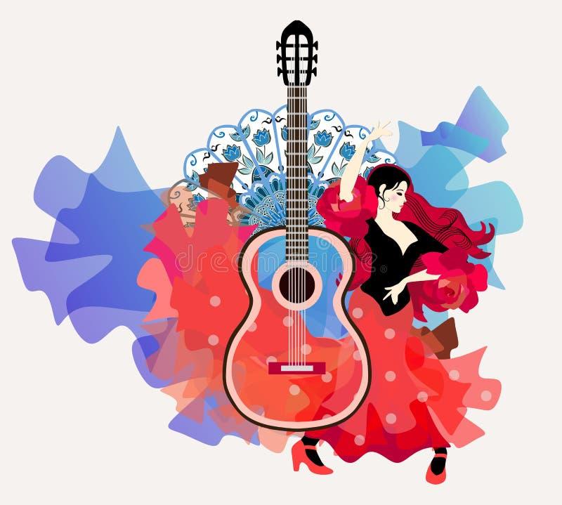 Elementy ogień i woda, uosabiający w tanu flamenco Piękna Hiszpańska dziewczyna - tancerz ilustracji