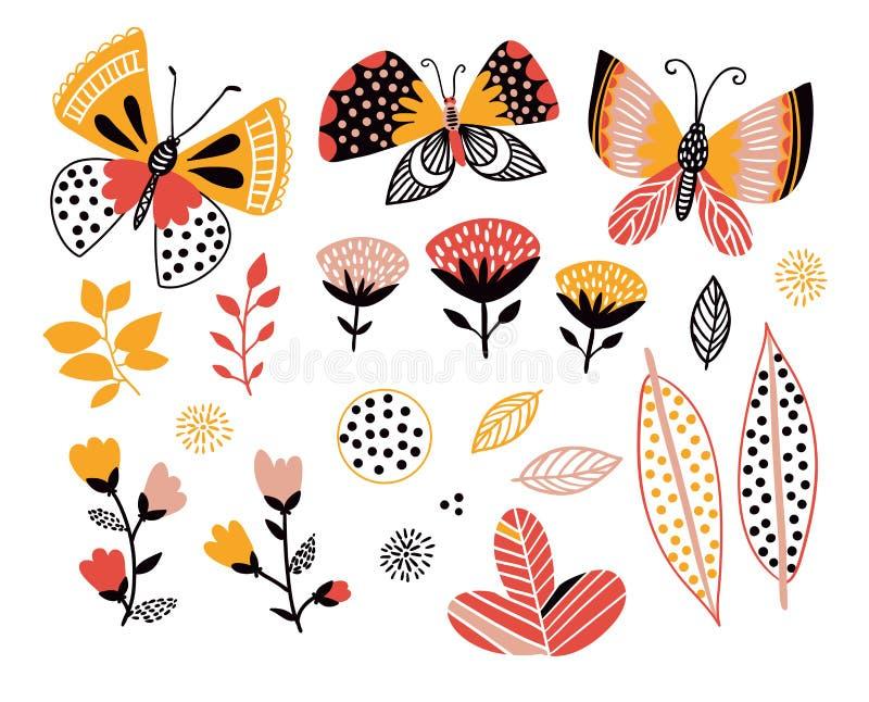 elementy projektów ustala się lato Motyle, liście i kwiaty, Dekoracyjni przedmioty dla kart, zaproszenia, plakat royalty ilustracja