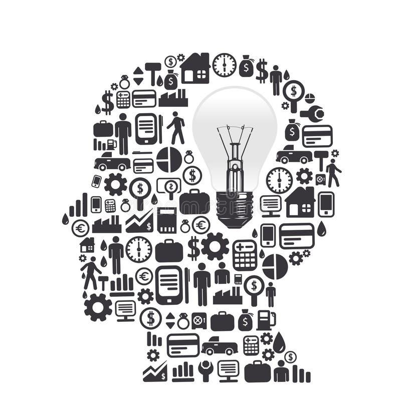 Elementy są małymi ikonami finanse robi w mężczyzna myśli ilustracji