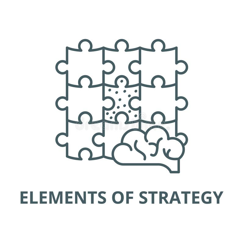 Elementy strategia wektor wykładają ikonę, liniowy pojęcie, konturu znak, symbol royalty ilustracja
