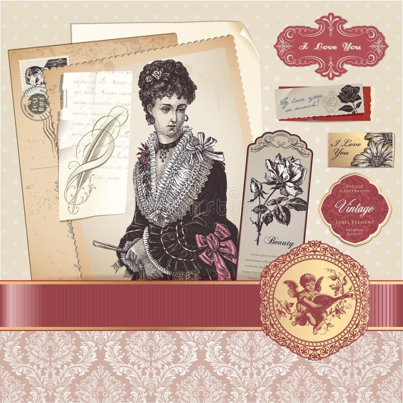 elementy ustawiają rocznika royalty ilustracja