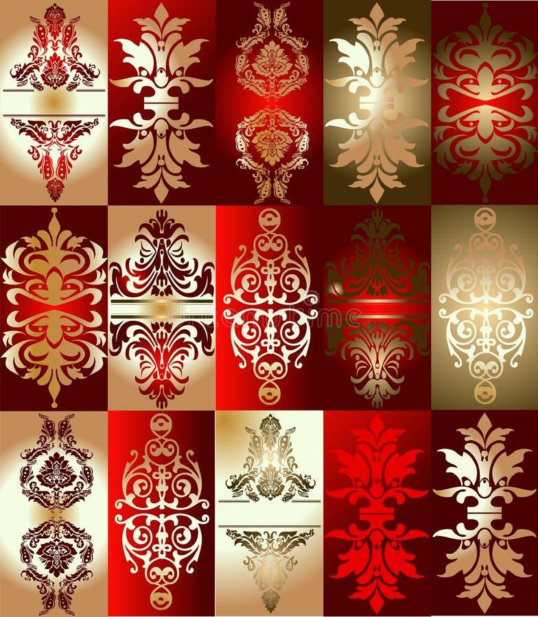 elementy złota ornamentu czerwony różne ilustracji