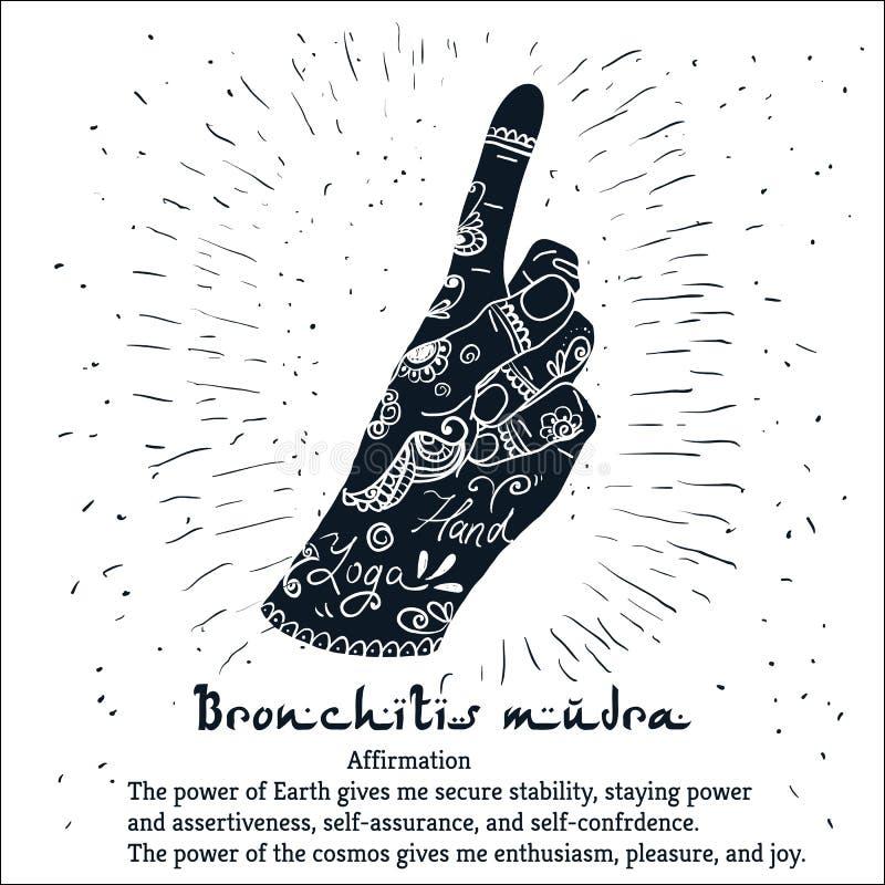 Elementyoga Bronchitis mudra Hände mit mehendi Muster stock abbildung