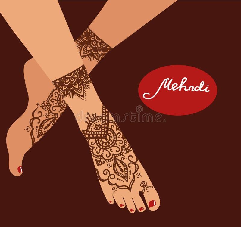 Elementyoga mudra Beine mit mehendi Mustern Vector Illustration für ein Yogastudio, Tätowierung, Badekurorte, Postkarten, Andenke stock abbildung