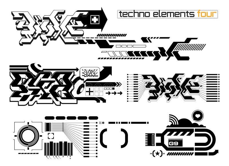 elemetnts καθορισμένο techno τέσσερα ελεύθερη απεικόνιση δικαιώματος