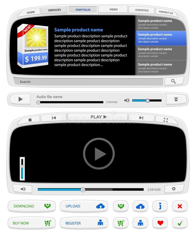 Elemets do design web ajustados ilustração stock