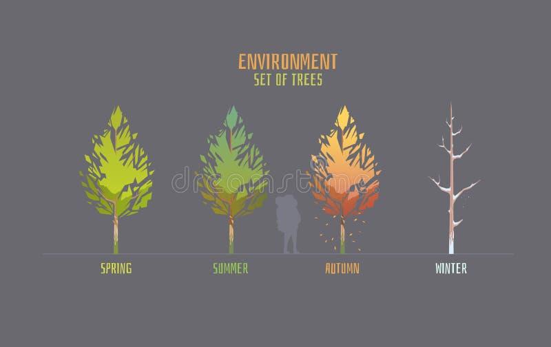 Elemets do vetor do ambiente para o jogo ilustração stock
