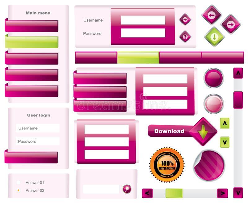 Elemets modernos do molde do Web site ilustração do vetor
