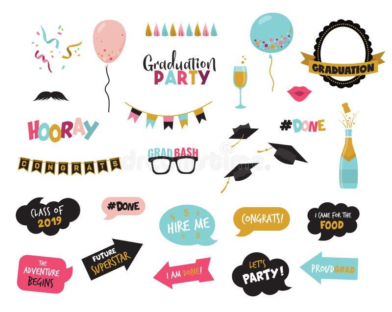 Elemnts de la cabina de la foto de la graduación y apoyo-vector del partido stock de ilustración