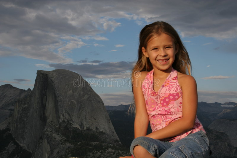 Elena at Glacier Point in Yosemite 2005 stock photography