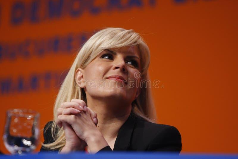 Elena Udrea Holding um discurso imagem de stock