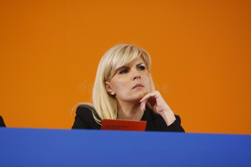 Elena Udrea Holding um discurso imagens de stock royalty free