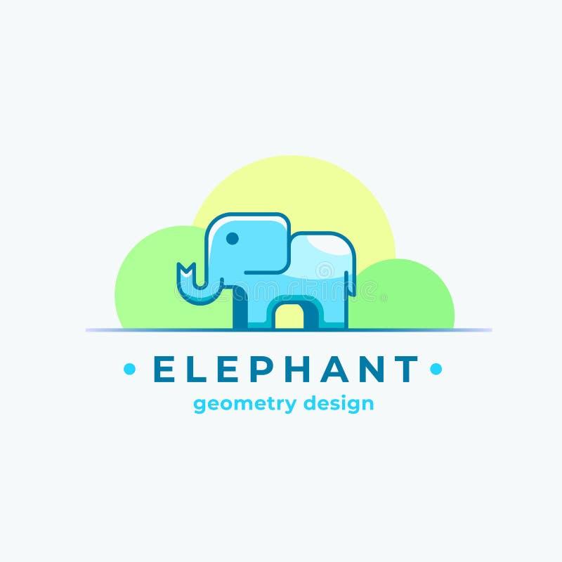 Elephan几何设计 抽象传染媒介标志、标志或者商标模板 与现代的五颜六色的微小的动物剪影 皇族释放例证