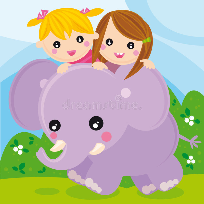 Elephant. Illustration of two little girls with an elephant
