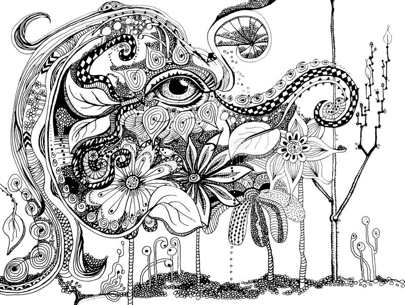 Elephant abstract line art stock images