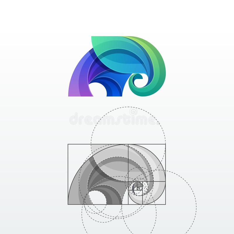 Elephant Abstract Vector Logo Template. Sign or Icon. Drawn with the Help of Golden Ratio. Isolated royalty free illustration