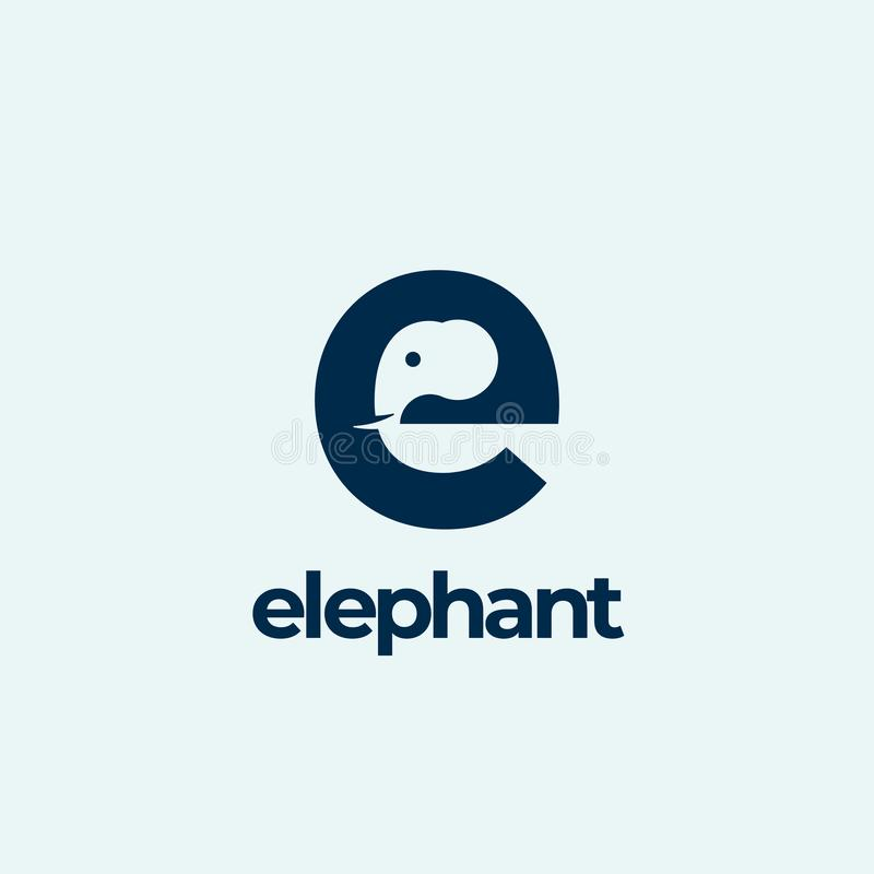Elephant Abstract Vector Logo Template, Sign or Icon. Elephant Head Incorporated in the Letter E. Negative Space Concept royalty free illustration