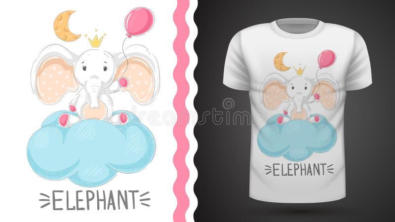 Elephant with air balloon - idea for print t-shirt vector illustration