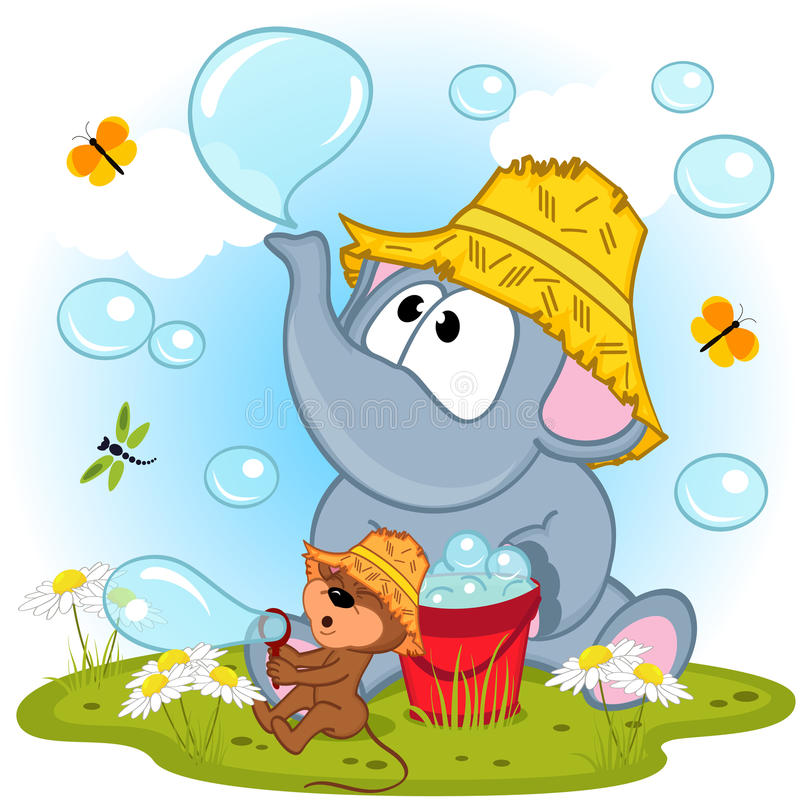Free Elephant And Mouse Inflated Bubbles Stock Photography - 57332832
