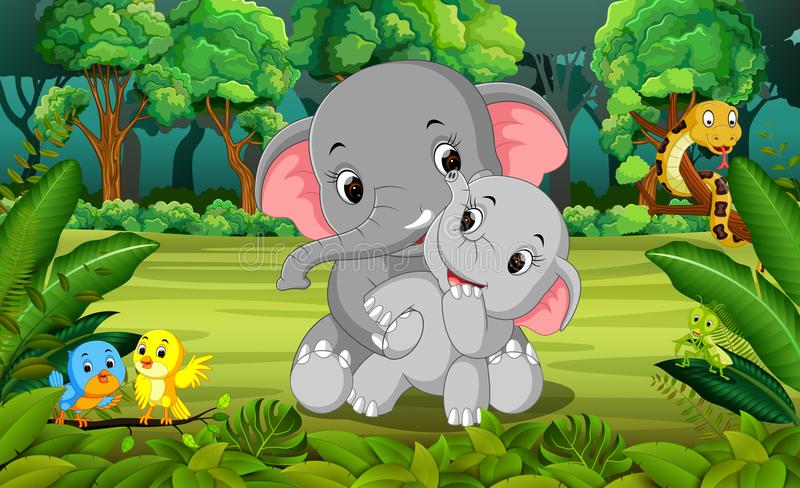 Elephant and baby elephant in the forest stock illustration