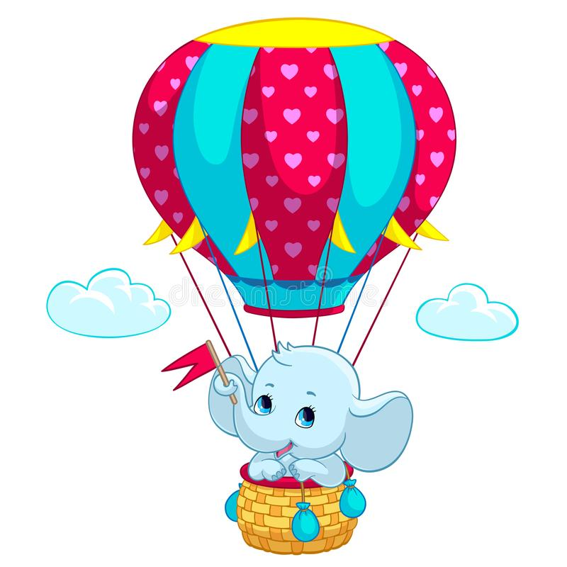 Elephant baby on hot air balloon cartoon vector illustration stock illustration
