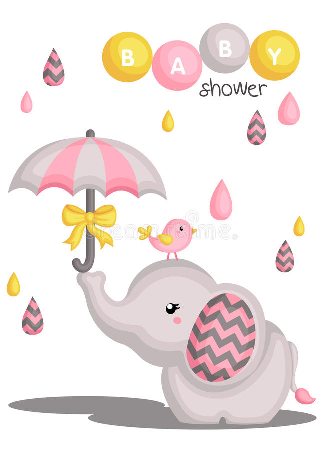 Elephant baby shower stock illustration