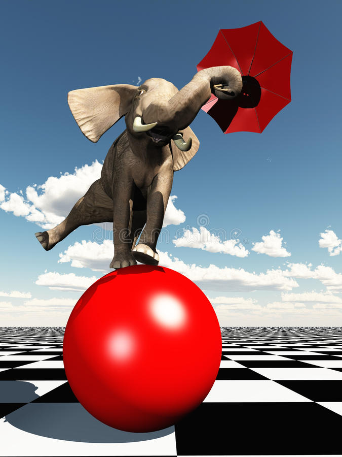 Elephant balancing on ball. Rendered elephant using umbrella to balance on red ball. The key concept here is balance whether in terms of a judgement call or royalty free illustration