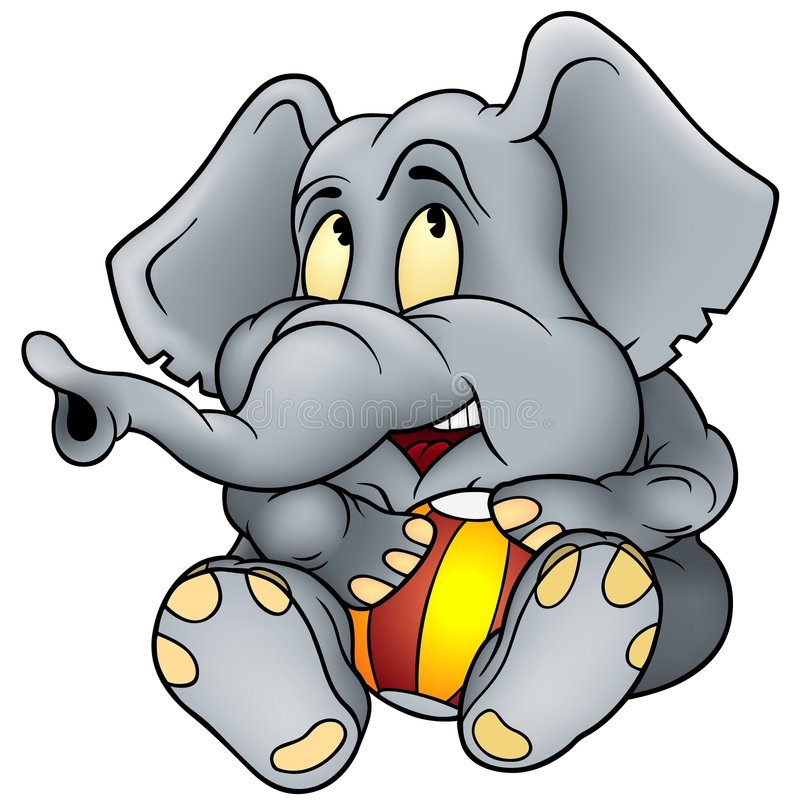 Elephant and ball royalty free illustration