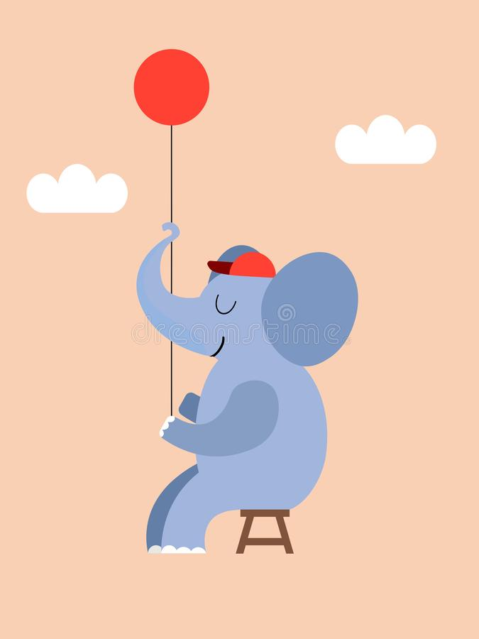 The elephant and the balloon stock illustration