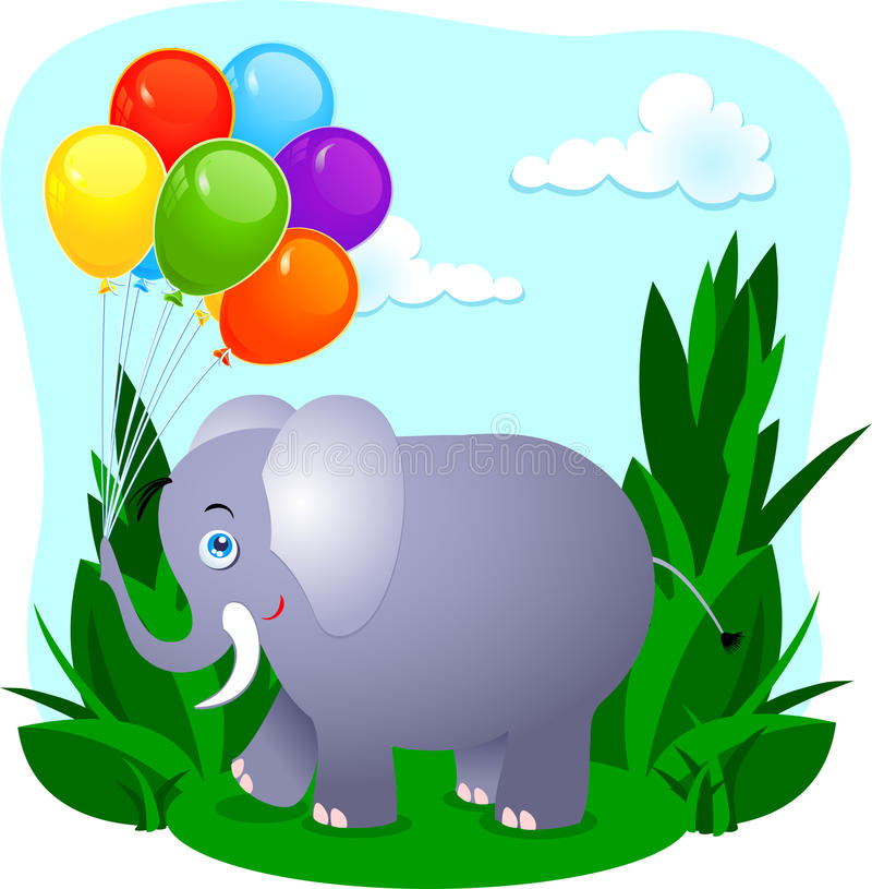 Download Elephant with balloons stock illustration. Image of leaf - 20265125