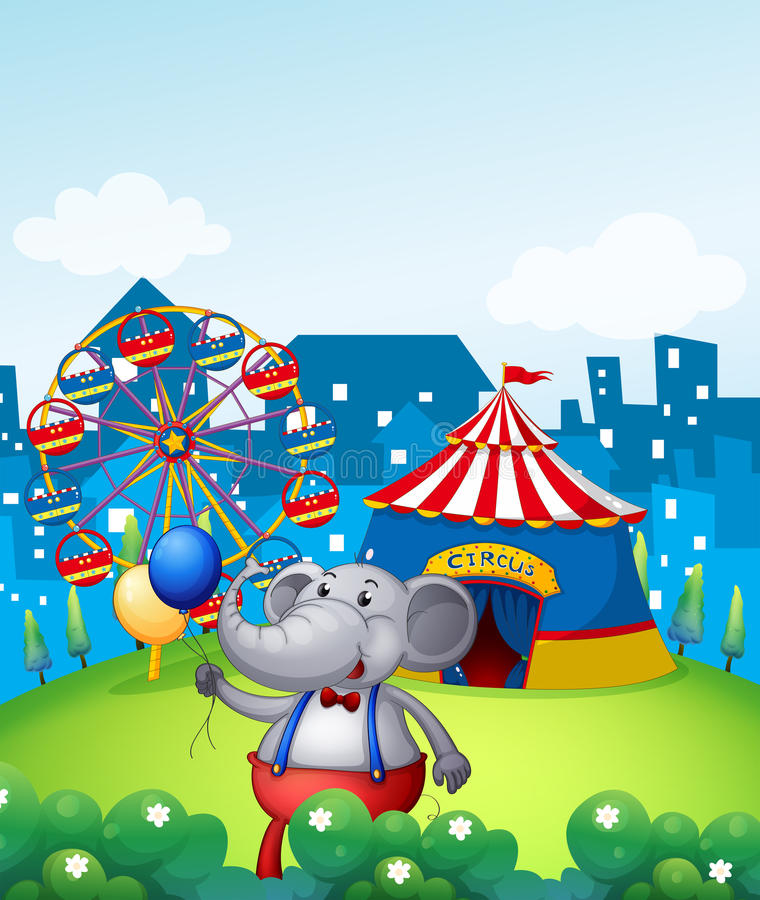 Download An Elephant With Balloons In Front Of A Carnival Stock Vector - Image: 33097106