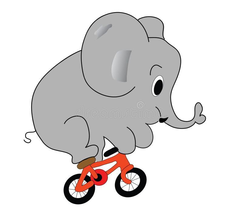 Elephant on the bicycle stock illustration