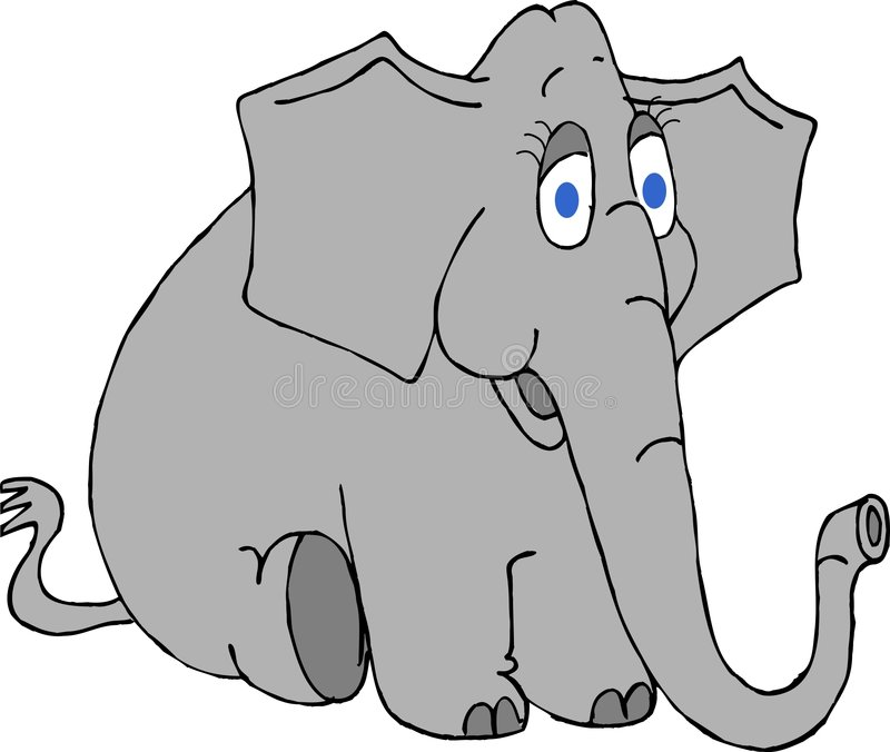 Elephant with big blue eyes stock illustration