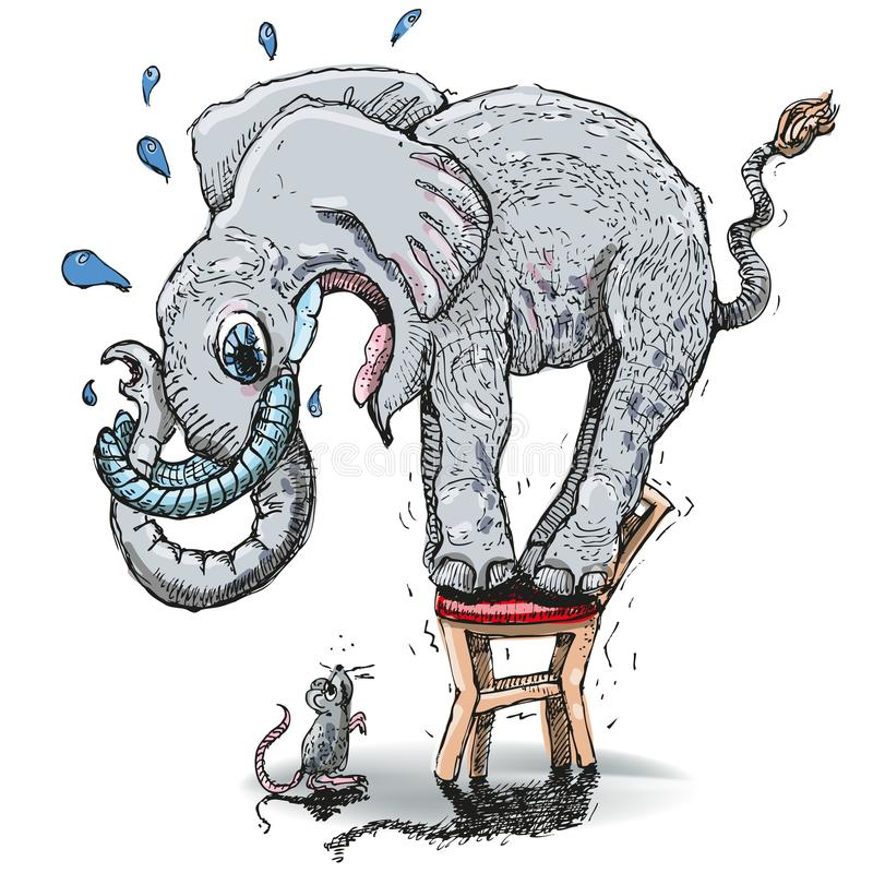 Elephant With A Big Fear Of The Mouse Stock Vector - Illustration of  elephant, mobbing: 121566462