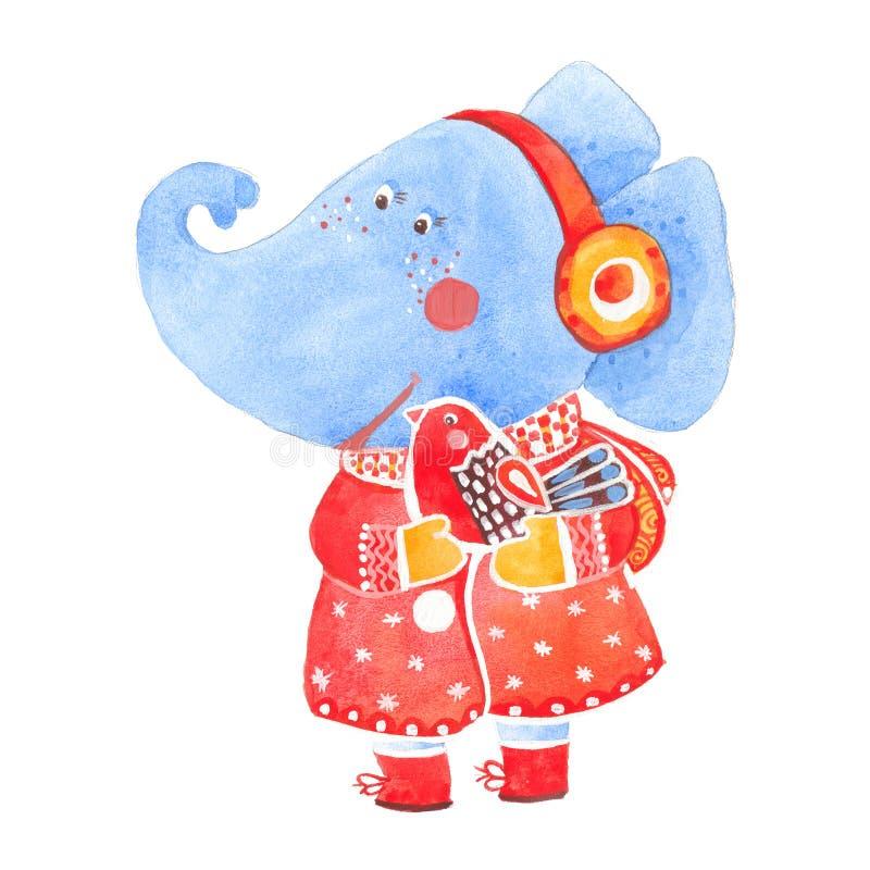 Elephant and bird vector illustration