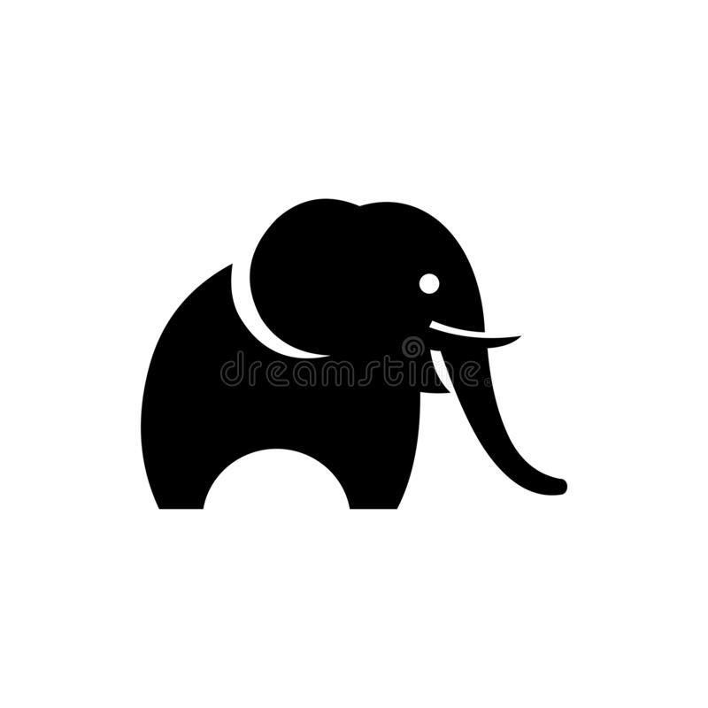 Elephant black silhouette isolated on white background, abstract art illustration stock illustration