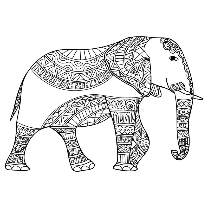 Elephant Black And White Doodle Print With Ethnic Patterns