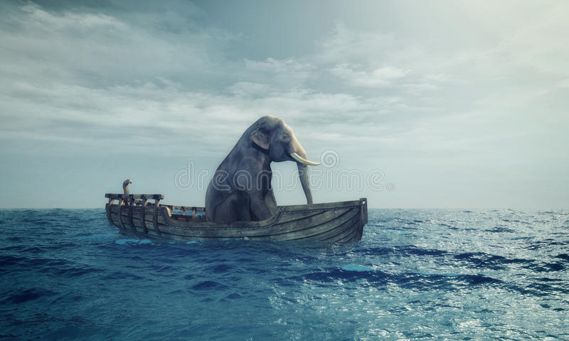 Elephant in a boat at sea. Elephant sitting in a boat by sea. This is a 3d render illustration stock illustration