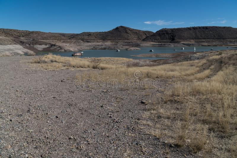 Elephant Butte Eastern view, New Mexico. One of many views of Elephant Butte Lake in southwest New Mexico. The Lake's water level is very low at this point royalty free stock photos