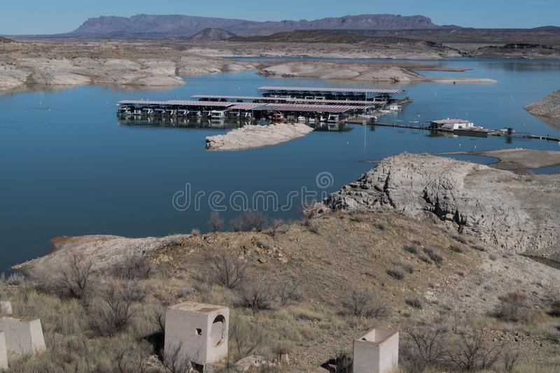 Elephant Butte Lake marina view, New Mexico. One of many views of Elephant Butte Lake in southwest New Mexico. The Lake's water level is very low at this stock images