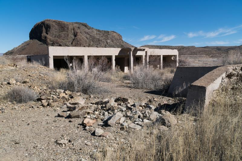 Elephant Butte Lake townsite ruins, New Mexico. One of many views of Elephant Butte Lake in southwest New Mexico. The Lake's water level is very low at this stock photo