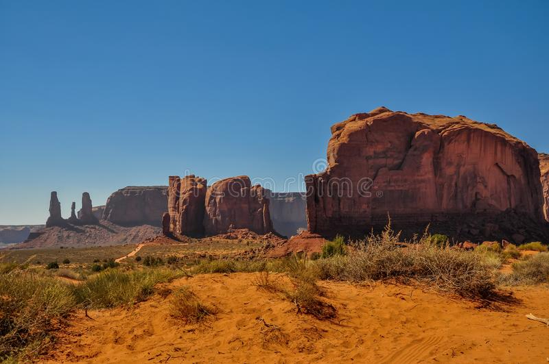 Elephant Butte, Rock formation, in iconic Monument Valley, Arizona stock photo