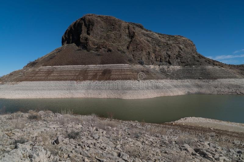 Elephant Butte up close, New Mexico. One of many views of Elephant Butte Lake in southwest New Mexico. The Lake's water level is very low at this point royalty free stock images